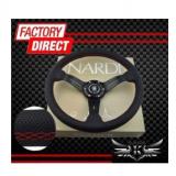 350mm赛车方向盘 汽车**方向盘 黑色打孔皮 Nardi改装方向盘