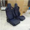 新款改装汽车座椅电竞椅单滑道黑色PVC蓝色格子镶条通用型赛车椅